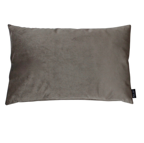Cushion Velvet wo. leather strap 60x40, Brown/Grey
